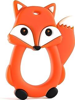 Fox Teething Toy by Baby Uma - Soft Sensory, Cute Animal Teether, BPA Free Silicone - Orange