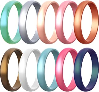 10 حزم من حلقات السيليكون للنساء من زولين، 5.5 مم خواتم زفاف مطاطية معدنية خاتم قابل للتكديس