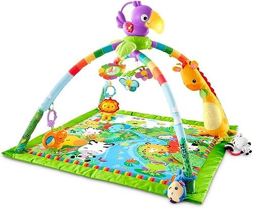 Fisher-Price Tapis musical d'éveil de la Jungle pour bébé, jouets et activités, musique et lumières dansantes, emball...