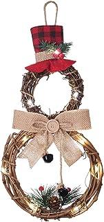 YQing 40.6cm Noël Couronne de Bonhomme de Neige, Iluminer Bonhomme de Neige de Couronne de Noel Porte Decoration avec Chap...