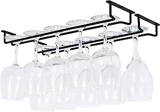 Sponsored Ad - Wallniture Brix Wine Glass Holder Under Cabinet Organization and Storage for Kitchen Decor, Black Iron 17 I...