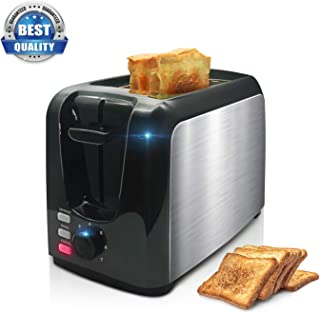 Toaster, 2 Slice Toaster Toasts Evenly And Quickly Black Stainless Steel Bagel Toaster With 2 Wide Slots,7 Browning Dials And Removable Crumb Tray For Bread Waffles