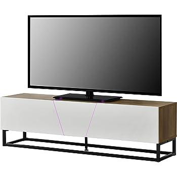 en.casa]® Mesa de Tele con LED 140x35x41cm con compartimientos para almacenar Apariencia de Madera: Amazon.es: Hogar
