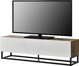 [en.casa]® Mesa de Tele con LED 140x35x41cm con compartimientos para almacenar Apariencia de Madera