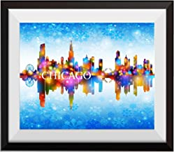 Uhomate Chicago City Skyline City Chicago Home Canvas Prints Wall Art Anniversary Gifts Baby Gift Inspirational Quotes Wall Decor Living Room Bedroom Bathroom Artwork C008 (8X10)