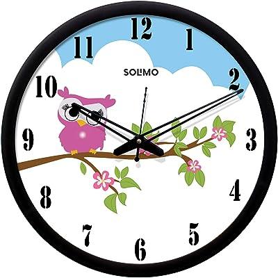 Amazon Brand - Solimo Contemporary Plastic & Glass Silent Movement Designer Wall Clock (Black Frame, 12-inch )