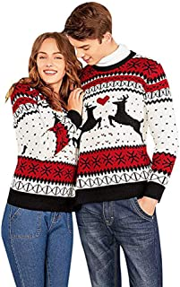 Christmas Two Person Ugly Christmas Sweater Xmas Couples Pullover Novelty Sweaters Sweatshirts Tops Shirt Blouses