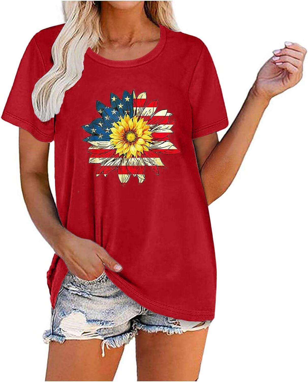 t-Shirt Women, Printed Off Shoulder Tops Short Sleeve Blouses Summer Shirts for Women Tie Knot T-Shirt