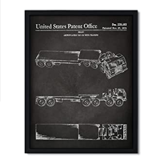 Andaz Press Chalkboard Patent Print Wall Art Decor Poster, 8.5x11-inch, Planes, Trains, Automobiles, Truck and Trailer Patent Poster, 1-Pack, Semi Truck, Transportation Nursery, 18 Wheeler