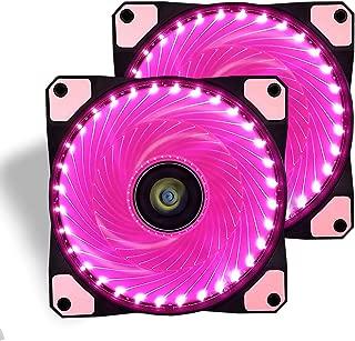 120mm PC Case Cooling Fan,CONISY Gaming 120 mm Super Silent Computer LED Cooler High Airflow Fans for Desktops - Pink (2 Pack)