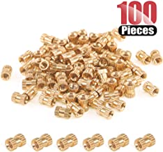 Hilitchi 100 Pcs Female Thread Brass Knurled Threaded Insert Embedment Nuts, Embed Parts, Pressed Fit into Holes for 3D Prints and More Projects (M4x8mmx6mm)