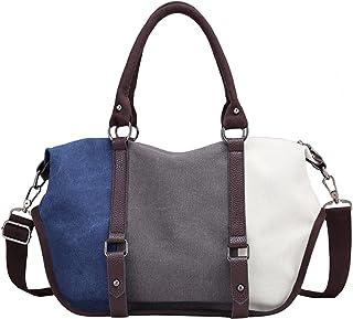 PB-SOAR Damen Vintage Canvas Henkeltasche Schultertasche Handtasche Umhängetasche Shopper Sporttasche, 6 Farben auswählbar...