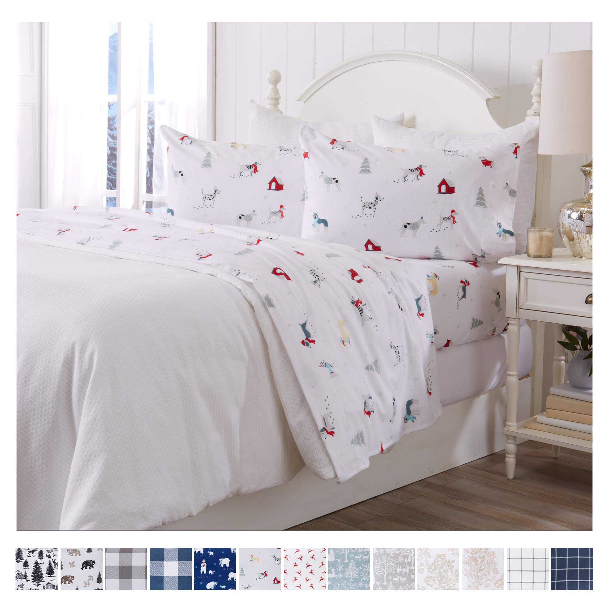 Great Bay Home Extra Soft Printed 100 Turkish Cotton Flannel Sheet Set Warm Cozy Luxury Winter Bed Sheets Belle Collection King Pups In The Snow Buy Online In Canada At Desertcart