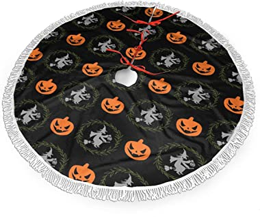 SHENTANSQ Witch Halloween Ghost Devil Pumpkin Fringed Christmas Tree Skirt Classic Holiday Decorations 30 36 48 Inc,Small Christmas Tree Skirt Gold Red for Party Holiday Decorations Xmas Ornaments