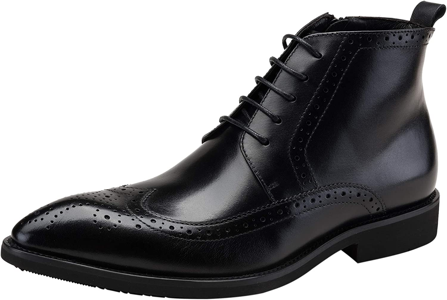 Men Genuine Leather Oxford Lace up Classic Brogue Wingtip Zip Ankle Dress Business Chukka Boots Black Burgundy