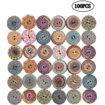 QincLing 100 PCS Wooden Buttons For Crafts, Wood buttons 1 Inch Assorted Vintage Round Wooden Flower Buttons Decorative Buttons With 2 Holes For DIY Sewing Crafts Knitting Baby Clothes