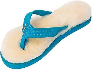 Womens Sheepskin Sandals (9, Blue)