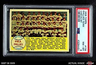 1958 Topps # 134 Phillies Team Checklist Philadelphia Phillies (Baseball Card) PSA 8 - NM/MT Phillies