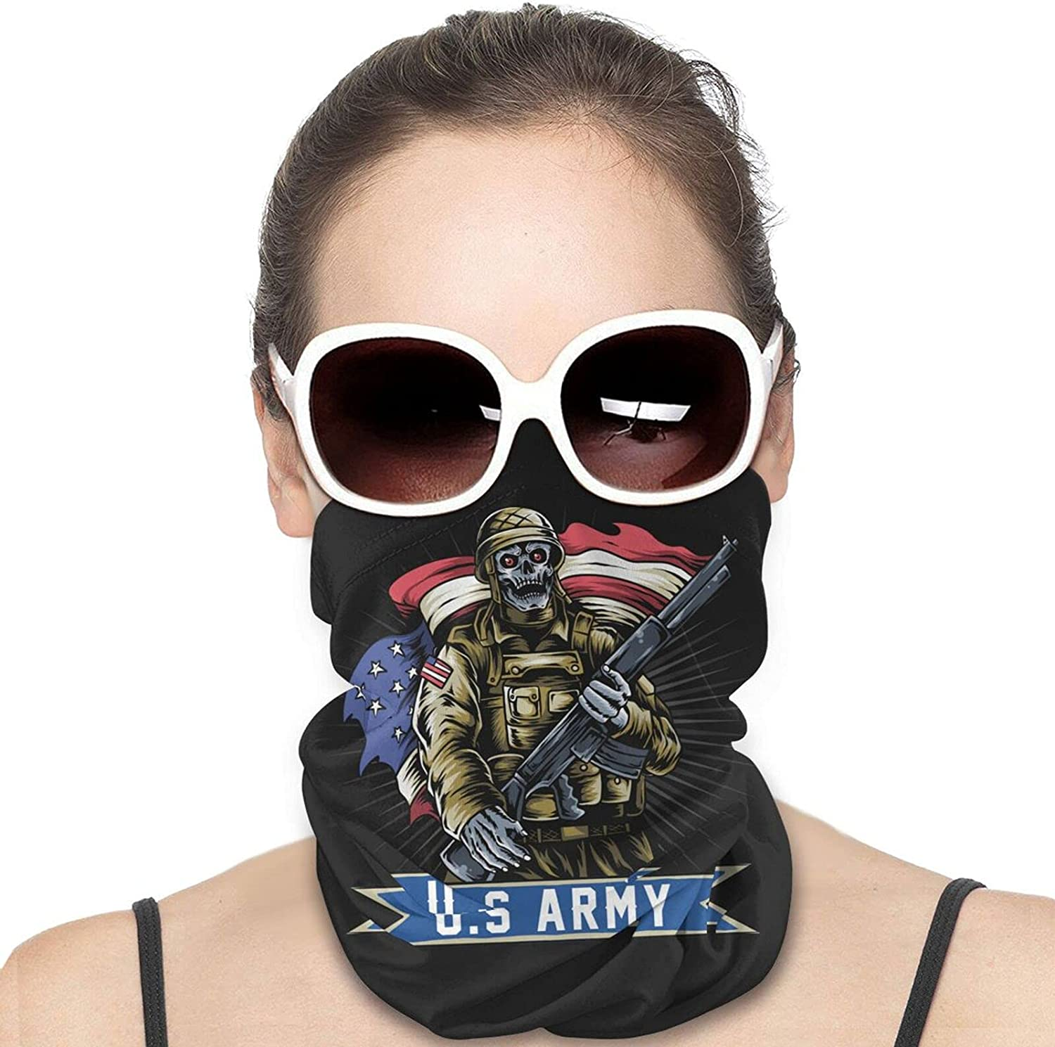America USA Army Machine Gun with USA Flag Grunge Round Neck Gaiter Bandnas Face Cover Uv Protection Prevent bask in Ice Scarf Headbands Perfect for Motorcycle Cycling Running Festival Raves Outdoors