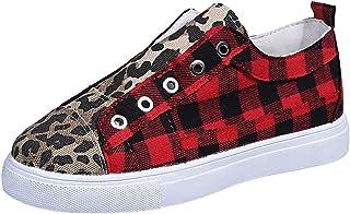 DAIFINEY Zeilschoenen voor dames, rooster, luipaardprint, canvas, sneakers, ademende vrijetijdsschoenen, wandelschoenen.