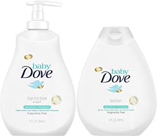 Baby Dove Sensitive Moisture Bundle: Tip to Toe Wash and Lotion, 13 OunceEach