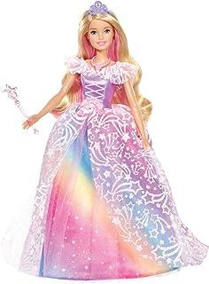 دمية شكل اميرة دريمتوبيا بفستان لامع بألوان قوس القزح واكسسوارات من باربي GFR45 - متعددة الالوان
