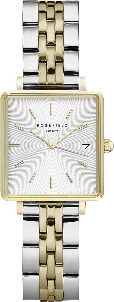 Rosefield the boxy xs, orologio per donna, cassa in ottone, cinturino in acciaio placcato in argento e oro QMWSSG-Q023
