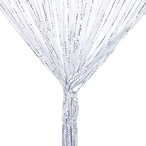 Door String Curtain, Wall Panel Fringe Window Room Divider Blind, Home Patio Bedroom Decorative Tassel Screen Ribbon Strings Strip Silver Thread Screen for Wedding Coffee House (White)