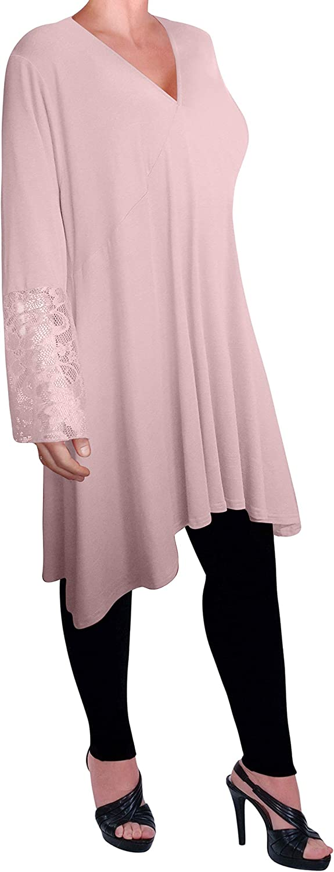 Eyecatch Womens Loose Long Dress Tunic Lace Tops Shirt Ladies Plus Size