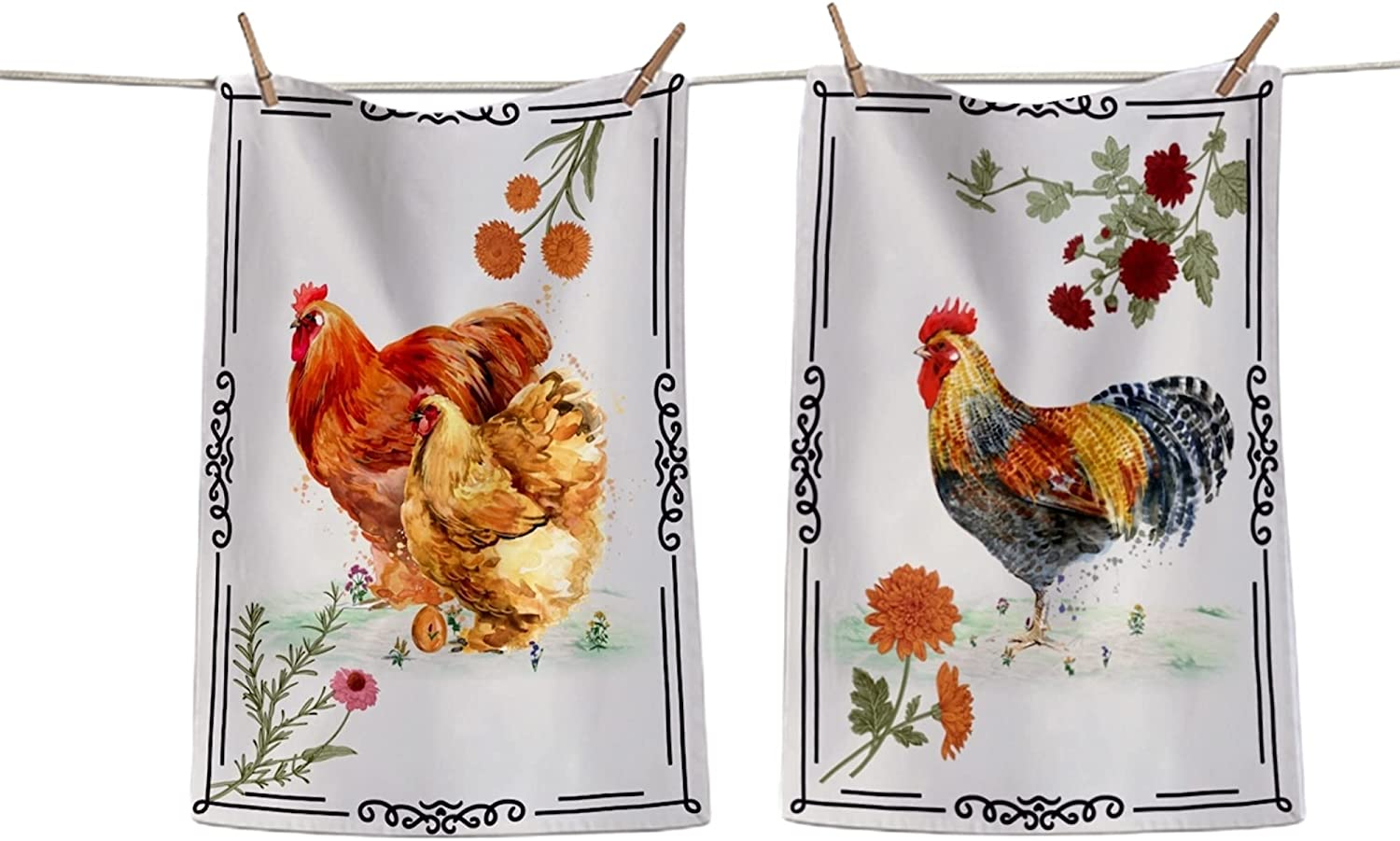 Shes Chic Rooster Chicken Kitchen Towels - 100% Cotton Farmhouse Set of 2 Multi-Purpose Feedsack Dish Towel for Drying   Tea Towels   Bar Towels 26 Inch by 18 Inch with Hanging Loop