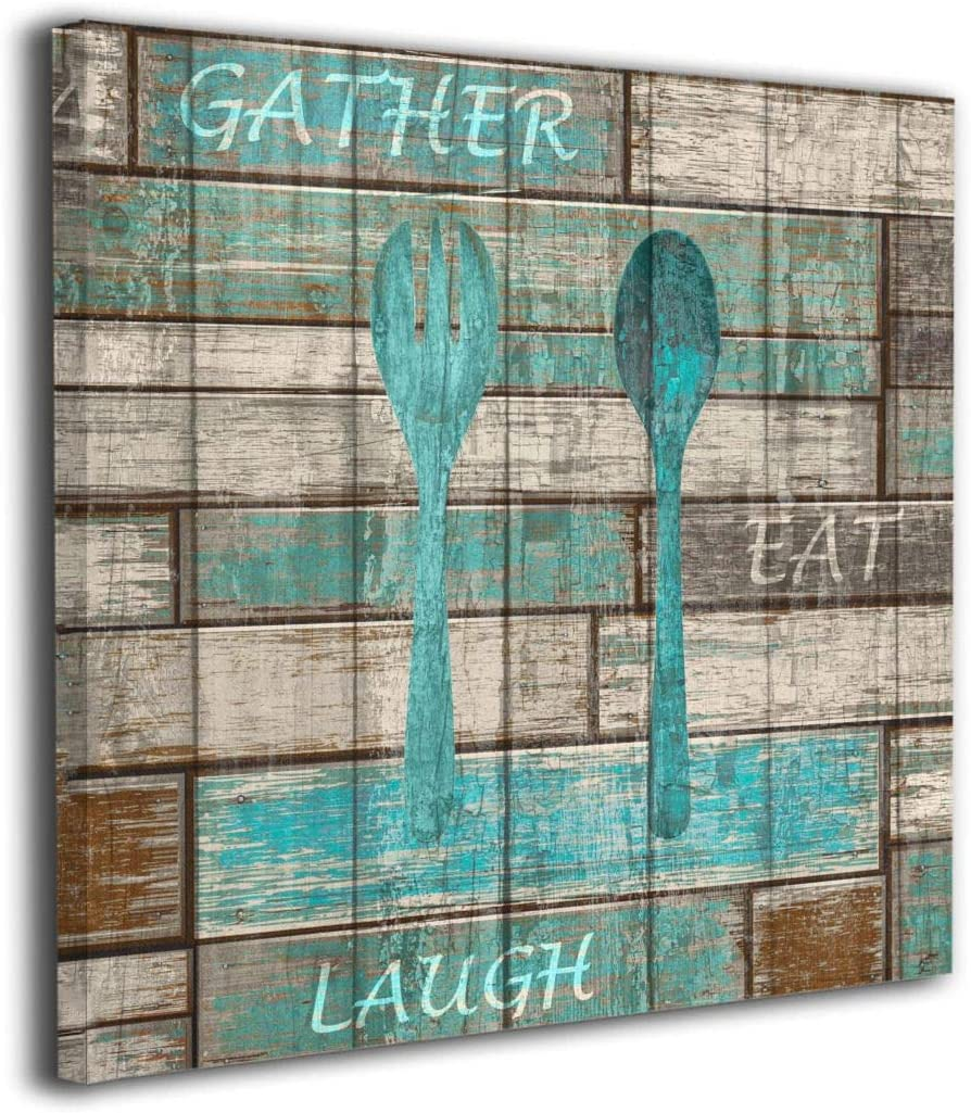 Amazon Com Kingsleyton Teal Brown Rustic Kitchen Modern Canvas Wall Art Giclee Print Gallery Wrap Home Decor Ready To Hang 12 X12 Posters Prints