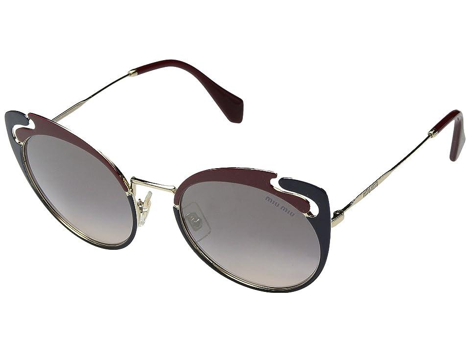 Miu Miu 0MU 57TS (Pale Gold/Garnet/Blue/Pink Gradient Mirror/Silver) Fashion Sunglasses