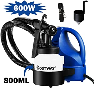 Goplus Paint Sprayer, 600W High Power Electric Spray Gun with 3 Spray Pattern, Adjustable Valve Knob and 800ml Detachable Container, Ideal for Home Painting Projects and Crafts