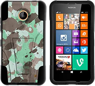 Compatible with Nokia Lumia 635 / Nokia Lumia 630 Case Skin Hybrid Shell High Impact Cover Two Layer Case Silicone Hard Shell Kickstand Case by TurtleArmor - Green Gray Splash Camo