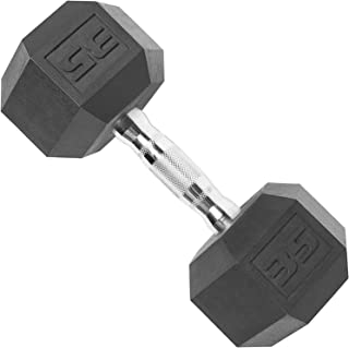 CAP Barbell SDP-035 Color Coated Hex Dumbbell, Black, 35 pound, Single
