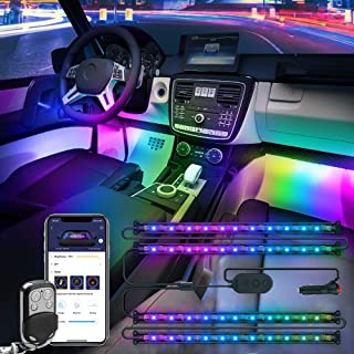 Govee Dreamcolor Car Interior Lights with APP and IR Remote, Upgraded 2-in-1 Design 4PCS 72 LEDs Interior Car Lights, DIY Color LED Lighting Kits Sync to Music with Super Length Wires for Various Car