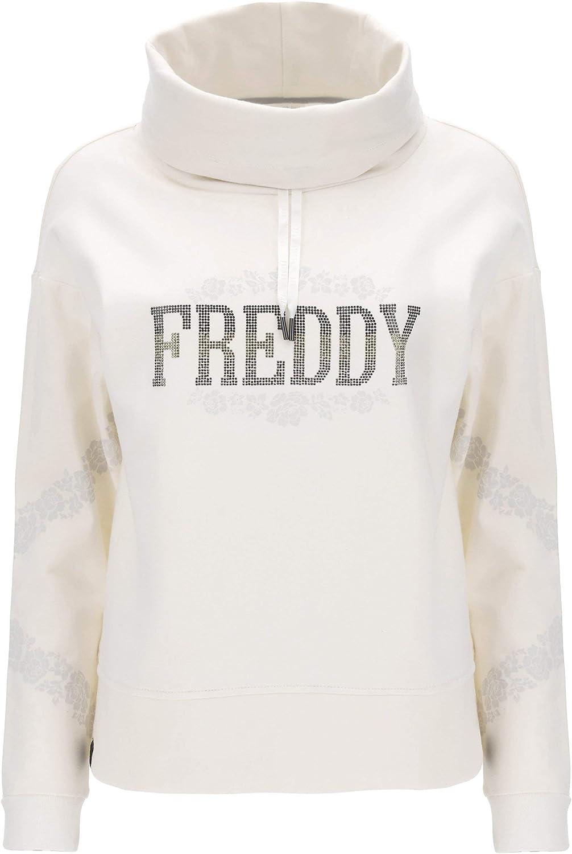 FREDDY Sweat-Shirt à col Montant Large avec Mini-Clous et Motifs Floraux Blanc