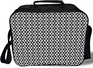 Fleur De Lis 3D Print Insulated Lunch Bag,Checkerboard Pattern Rectangles European Heraldic Design Monochrome Emblem,for Work/School/Picnic,Black White