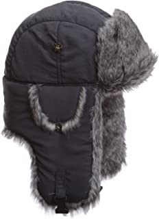 Mad Bomber Grey Supplex With GreyFaux Fur Hunting Trapper Aviator Bomber Hat