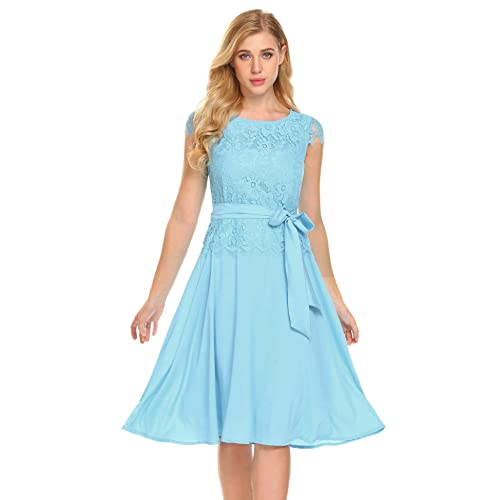 15535f58c5e Bulges Women Cap Sleeve Lace Chiffon Patchwork Flare Evening Party Cocktail  A-Line Dress With