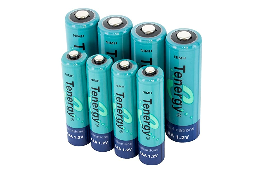Tenergy High capacity NiMH Rechargeable battery package: 4 AA 2600 mAh + 4 AAA 1000 mAh