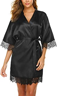 Avidlove Women's Pure Color Kimono Robes Short Satin Nightwear Bridesmaids Lingerie S-XXL
