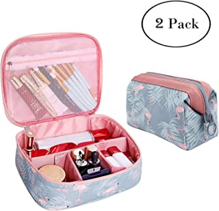 2 Pcs Toiletry Bag Multifunction Makeup Cosmetic Bags Organizer Portable Travel Cube Case for Women Large Make-up Brushes Pouch (Blue Flamingo)