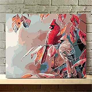 DIY Oil Painting Paint by Number Kit for Adult Kids - Painted,Merry Christmas Cardinal Bird,16X20 Inch