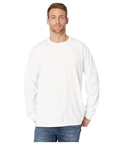 Hanes ComfortWashtm Garment Dyed Long Sleeve T-Shirt (White) Clothing