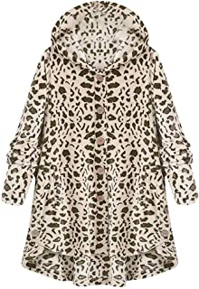 Aniywn Women's Plus Size Button Down Cardigan Coat Leopard Print Casual Loose Hooded Pullover Outwear