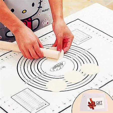 Nifogo Tapis de Cuisson Patisserie en Silicone Anti-adhésif Réutilisable Baking Mat Fondant Pâte, 100% sans Bisphénol-A (BPA),avec Mesure, 60 x 40 cm (Noir +Grattoir Cadeau)