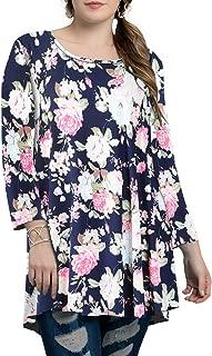 BELAROI Women Plus Size 3/4 Sleeve Comfy Tunic Tops Loose T-Shirt