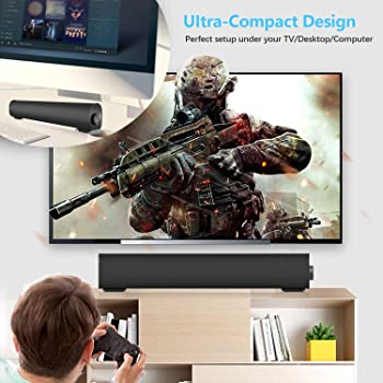 Portable Soundbar for TV/PC, Outdoor/Indoor Wired & Wireless Bluetooth Stereo Speaker with The Newest Remote Control,...