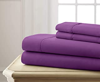 Spirit Linen Hotel 5Th Ave Super Bright Collection Microfiber Sheet Set, Queen, Purple